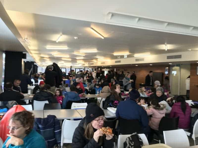 The busy cafeteria at Lake Mountain.