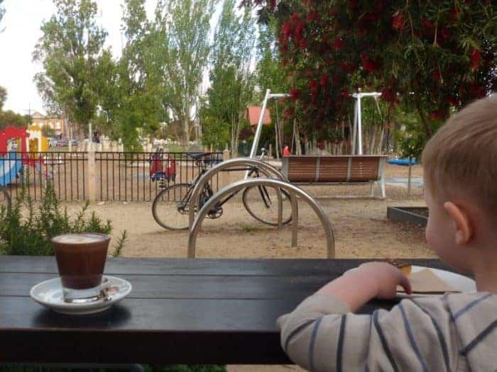 Coffee overlooking the playground at park st. dining