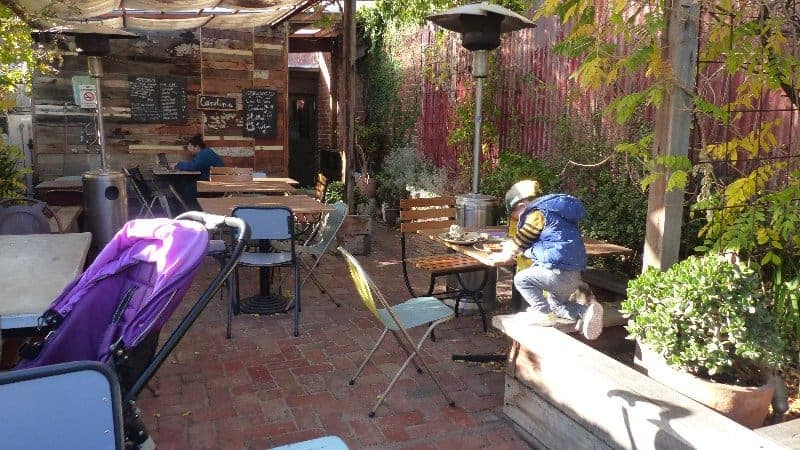 The Carolina Cafe's rear courtyard, great for young kids.