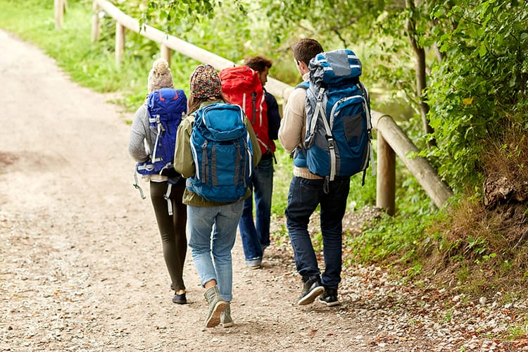 Hikers with full Hiking Backpack