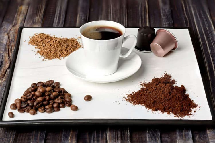 Images of different styles of coffee - capsules/pods, beans, ground and instant. The best coffee machine 2019 australia varies based on the type of coffee people like to drink.