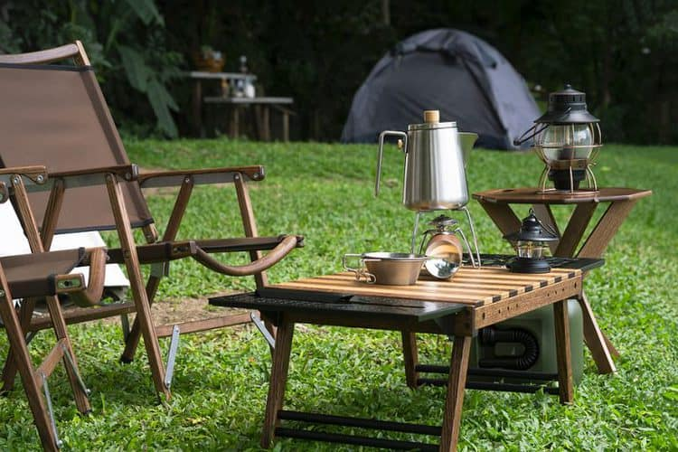 camping table with kettle