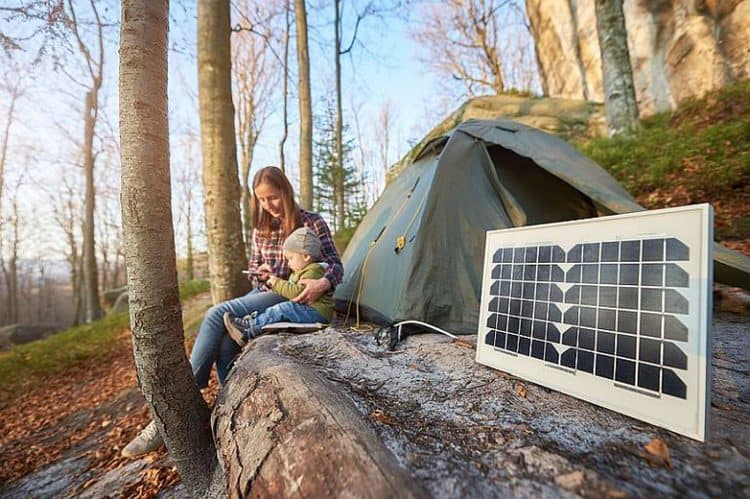 Solar Panel In A Campsite On A Sunny Autumn Day A