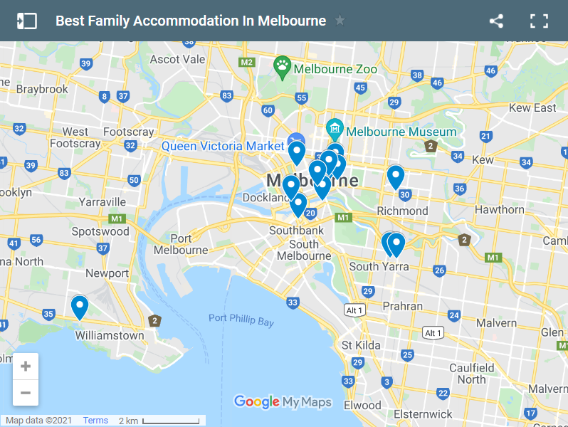 Best Family Accommodation In Melbourne map
